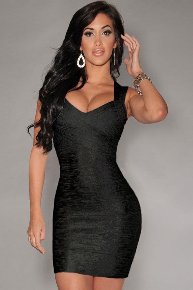 Long cool woman in black dresses